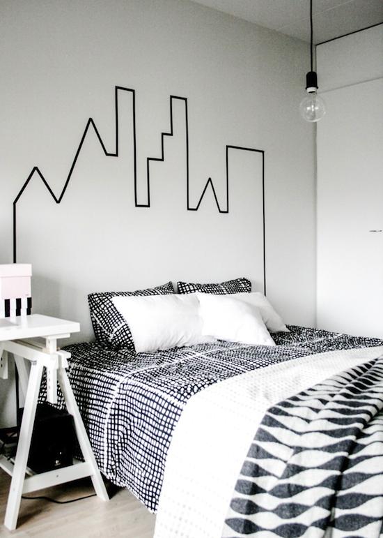 murs avec du masking tape tête de lit idée déco