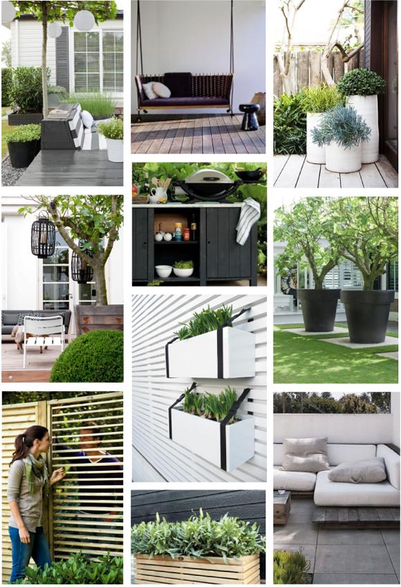 Moodboard groene tuin zwart wit accenten interieur for Interieur zwart wit