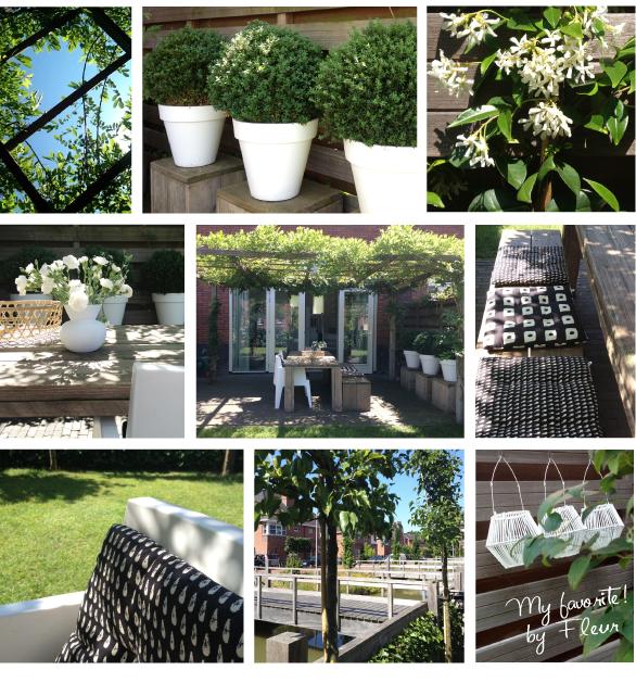 Moodboard groene tuin zwart wit accenten - Te vangen zwart wit ontwerp ...