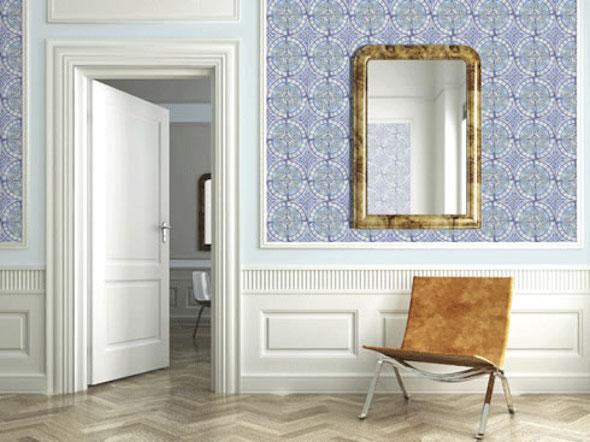 Andere kijk op wand afwerking interieur design by nicole fleur - Wallpaper imitatie lambrisering ...