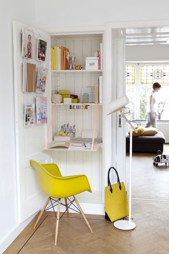 Klein kantoor thuis interieur design by nicole fleur - Idee deco wallpaper volwassene kamer ...