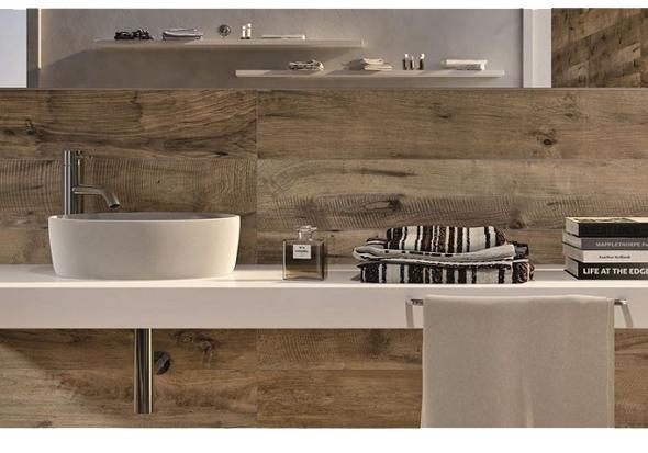 Sfeervol hout in de badkamer interieur design by nicole fleur - Badkamer tegel imitatie hout ...