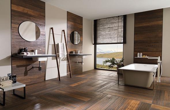 Sfeervol hout in de badkamer |