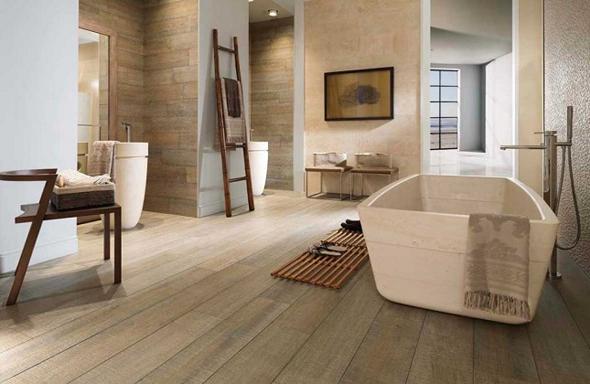 Sfeervol hout in de badkamer interieur design by nicole fleur - Badkamer keramische ...