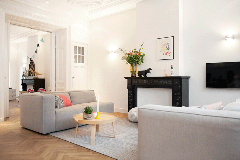 Indeling en inrichting van een verdieping van een for Rechthoekige woonkamer inrichten