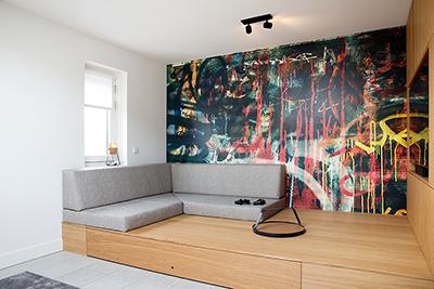 Zolder ontwerp speel & lounge kamer voor tieners interieur design